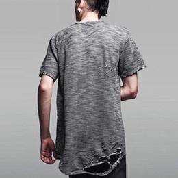 Wholesale Destroyed Black Shorts - 2017 urban clothing hip hop t shirt men's destroyed hole extended t shirt kpop clothes tyga tee kanye west hba rhude yeezus