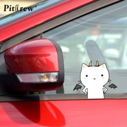 Wholesale Devil Car Decals - 1Pair 10.8*9CM Cute Cat Angel VS Devil Anime Cartoon Car Styling Motorcycle Car Stickers And Decals Exterior Accessories