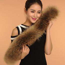 Wholesale Real Fur Scarfs - Wholesale-Hot 100% Real Raccoon Fur Big Hood Trimming 70CM 80CM 90CM, Genuine Raccoon Fur Collar Fur Scarf BE1506 Free Shipping