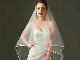 Wholesale Korean Wedding Veils - Princess Bride New Korean Queen Saimple Atmospheric Serging MonTwo Layers Tulle Short Bridal Veils olayer Drape Wedding 1 m 5 Veil Headdress
