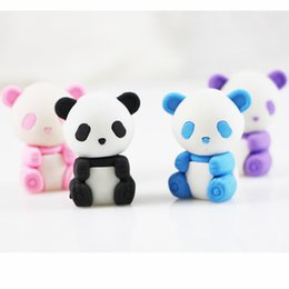 Wholesale Cartoon Erasers - 4pcs lot Cartoon Panda Eraser School and Office Supplies Erasers Lovely Drawing Correction Tool Kawaii Stationery Rubber