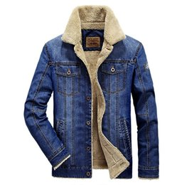 Wholesale Denim Wool - Men's fashion Plus wool denim jacket field jeep leisure and thickening of the cowboy clothing Warm in the winter coat blue and dark blue