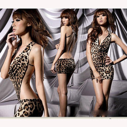 Wholesale Wholesale Chain Lingerie - Wholesale- 2017 New fashion sexy pajamas game uniforms sexy lingerie chain leopard halter dress Female underwear Girls Clothing One Size