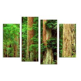 Wholesale Framed Art Ideas - 4PCS Nature Old Vintage Tree Landscape Wall Painting Print On Canvas For Home Decor Ideas Paints On Wall Pictures Art No Framed