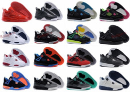 Wholesale Kids Table Tennis - New 2017 Retro 4 PS Kids Basketball Shoes Children 4s High Quality Sports Shoes IV Oreo Legend Blue Fuchsia Youth Basketball Sneakers 11C-3Y