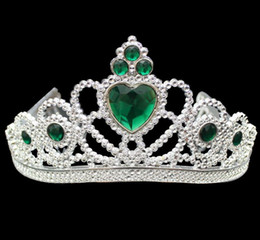 Wholesale Children Crowns Tiaras Plastic - Cosplay Princess Kids Crown Plastic Tiara Birthday Party Favor Girls Silver Resin Heart Crystal headbands Pageant Prom Children XMAS gift