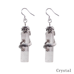 Wholesale Green Chinese Stones - 925 sterling silver natural stone crystal column Chinese dragon national wind earrings for women long earringsdrop earrings
