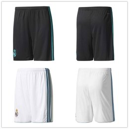 Wholesale Men S Home Pants - ^_^ wholesales 17 18 madrid home away top thai AAA quality custom number football shorts soccer uniforms soccer clothing pants