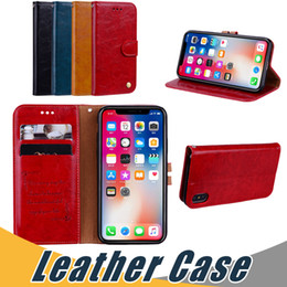 Wholesale Iphone Flip Cover Case - For iPhone X 8 7 6 Plus 5 Oil Wax Leather Case with Card Slot Flip Stand Case Cover