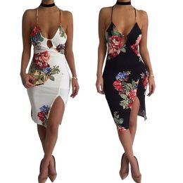 Wholesale Sexy Bosom - Women Sexy Summer Dress Spaghetti Strap Neck Backless Sleeveless Split Hems New Style Printted Ladies Low Bosom Dresses