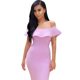 Wholesale sexy chic bandage dress - Wholesale- 2017 Summer Bandage Dress Women Cerebrity Party Yellow Ruffles Off the Shoulder Strapless Dress Chic Bodycon Wholesale Vestido
