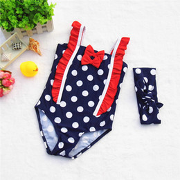 Wholesale Swim Suits For Girls - New Princess Girls Swim Suits One-Pieces With Bowknot Headband 2pcs Sets For Girl Hot Spring Swimwear Swimming clothes new Suits A6376