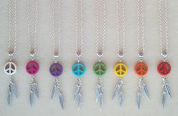 Wholesale Wholesale Peace Jewelry - Dream Catcher Feather Stone Peace Dreamcatcher Charms Choker Vintage Silver Necklaces Pendant Women Fashion Jewelry Girls Bijoux 10PCS Z485