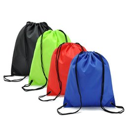 Wholesale Drawstring Bags For Shoes - Portable sack cheap nylon drawstring backpack simple Solid bag back bag for travel drawstring bag for books shoes