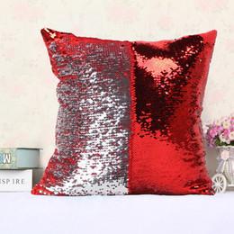 Cuscini di raso online-Reversibile Paillettes Sirena Satin Pillowslip Throw Pillow Cuscino Auto Decorazione Della Casa Divano Letto Decor Federa Decorativa