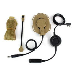 Wholesale Tactical Headset Kenwood - Tactical Headset With Waterproof PTT Right Left Ear Cup Yellow Color For Kenwood 2Pin Two Way Radios