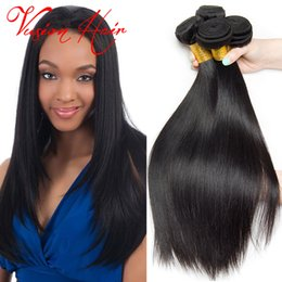 Wholesale Remy Bulk Hair Extensions - Straight Human Hair Indian Weave 3 Bundles Lot Remy Human Hair Top Quality Unprocessed Human Hair Weave Bulk Extensions Bulk Wholesale
