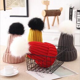 Wholesale Woolen For Baby Girl - kids Knitted hats with detachable black & white ball Woolen Winter Knitted Hats Warm Hedging Caps Hand Crochet Caps for baby girls YYA620