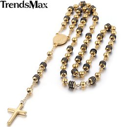 Wholesale Rosary Beaded Chains - Trendsmax Rosary Jesus Christ Cross Pendant Necklace Stainless Steel Bead Chain Mens Womens Christian Jewelry KN434-KN441