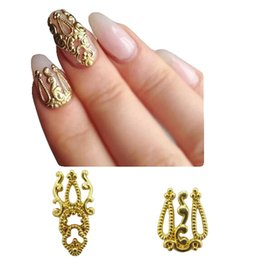 Wholesale Nail Jewelry Skull - Wholesale- gold metal nail studs scarab nail art decorations accessories polish skull unas nails lion charms DIY deer jewelry YH01~24