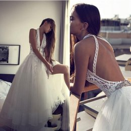 Wholesale Halter Wedding Dresses Slit - robe de soiree Beach Boho Wedding Dresses Beads Lace Bride Gowns Backless Deep V Neck High Side Slit Dresses robe de mariage