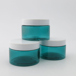 Wholesale Wholesale White Glass Cosmetic Jars - 20 x 120g Empty Blue Plastic Jar With White Cap Seal 4oz pet cosmetic jar
