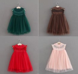 Wholesale Striped Party Dress - 8 color Fly Girls Lace kid baby sleeve Sleeveless Children Girls Vintage Pompon Veil Baby Girl Fashion Party Dresses Child Clothing wt720