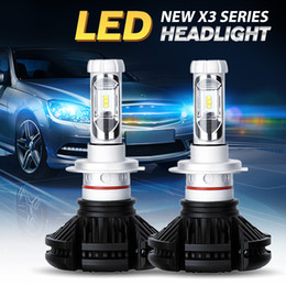 Wholesale h4 h7 conversion kit - H4 H7 H13 H11 9005 9006 LED Headlight Conversion Kit All In One Car LED Headlights X3 Bulb Head Lamp Fog Light 6500K