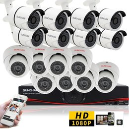 Wholesale 16ch Dvr System - 16CH CCTV System 1080P HDMI AHD 16CH DVR 2.0 MP IR In Outdoor Security Camera Surveillance System