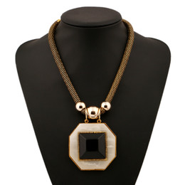 Wholesale Trendy Apparel - Hipsters Popular Jewelry Rectangular Anti-radiation Gemstone Pendant Long Chain Necklace Trendy Retro Joyas Exaggerated Apparel Accessory