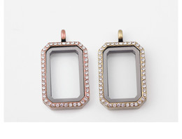 Wholesale Antique Bronze Rectangle Pendants - Rectangle Floating Locket Antique Bronze with Crystal Rhinestones Living Memory Lockets Jewelry Making Supplies
