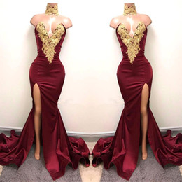 Wholesale Dark Blue Evening Dresses - New Design 2K18 Sexy Burgundy Prom Dresses with Gold Lace Appliqued Mermaid Front Split for 2018 Long Party Evening Wear Gowns