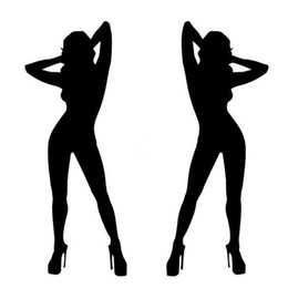 Wholesale Sexy Hot Girls Body - 6*15CM One Pair of Hot Sexy Girl Car Stickers And Decals Naked Woman Car Door Stickers