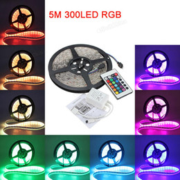 Wholesale Super Bright Rgb Led Strips - 5M 5050 300 LED RGB Waterproof Decoration Super-bright Strip Light + 24Key IR Remote Controller 12V DC DEL_00J