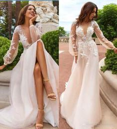 Wholesale Plus Size Wedding Reception Dresses - Boho Summer Beach Lace Wedding Dresses 2017 Juliet Long Sleeves Deep V Neck Bridal Gowns Cheap Formal Weddin Reception Dress