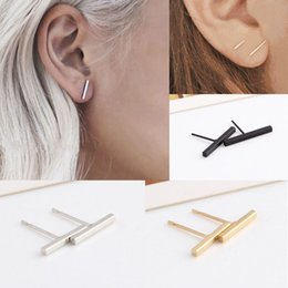 Wholesale Bars Earrings - Women Girls New Fashion Simple Design Black Silver Gold Tiny Bar fashionable Cute Stud Earrings