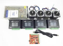 Wholesale Stepper Controller Board - CNC mach3 USB 4 Axis Kit, 4pcs TB6600 driver+ mach3 USB stepper motor controller board+ 4pcs nema23 stepper motor +power supply
