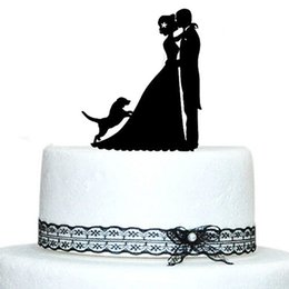 Wholesale Wedding Topper Silhouette - Wholesale-Personalized Wedding Cake Topper Dogs, Wedding Decoration, Bride and Groom Silhouette with Dog, Acrylic Cake Topper Casamento