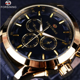 Wholesale Mechanical Time - Forsining Business Time Series Black Genuine Leather Strap 3 Dial 6 Hands Men Watches Top Brand Luxury Automatic Watch Clock Men