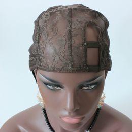 cinghie regolabili in cotone per parrucca in parte Sconti 5 pezzi / colore marrone U Parte parrucca Cap sinistra centro destra Parting U Parte Cap per fare parrucche cinghie regolabili
