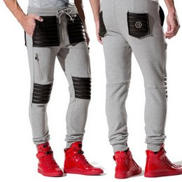 Wholesale Quilt Full - Casual Sweatpants For Man Famous Brand Leather Quilt Patches On Knee Long Gym Cotton Trousers Men