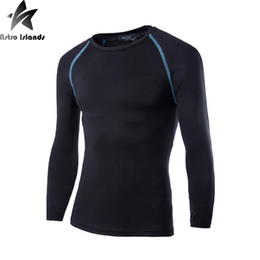 Wholesale Wholesale Mens Base Layer Shirts - Wholesale- Mens Boys Casual T-shirt Compression Base Layer Long Sleeve Quick Drying Thermal Under Top Tee Shirt New Motion T shirts HY895