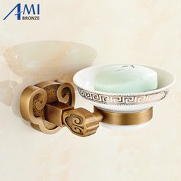 Wholesale Antique Brushes - Sanyangkaitai Series Antique Brushed Brass Soap Dish Holder Soap Network Bathroom Accessories Dishesdisk Toilet Vanity