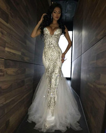 Wholesale Sparkle Tulle Prom - 2017 Luxury Bling Sparkle Prom Dresses Mermaid White Deep V-neck Beaded Crystal Long Tulle Prom Dress Evening Gown