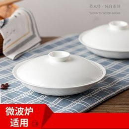 Wholesale White ceramic plate with cover plate for microwave oven white insulation household tableware hotel with soup dish dish