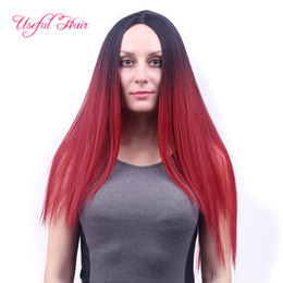 Wholesale Blonde Medium Hair Styles - 24inch ombre colors long wig straight style synthetic hair wigs for girls blonde hair for women useful hair best quality christmas cap wigs