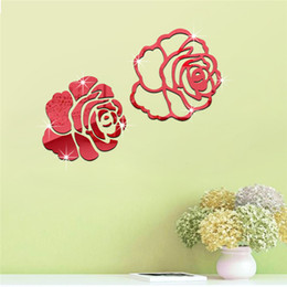 Wholesale Large Rose Wall Decal - Wall sticker DIY Home Family Decor Rose Flowers Mirror 3D Decal Room decoration accessory Wall Stickers