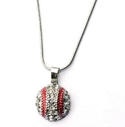 Wholesale New Baseball Necklaces - 10pcs lot New 1.7cm Crystal Baseball Pendant Snake Chain Necklace Fashion Sports Jewelry Best Friend Gift for Team Club Base Ball Lovers