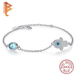 Wholesale Hand Bracelet For Women - BELAWANG 925 Sterling Silver Blue Crystal Bracelets Hamas Hand&Evil Eye Bracelets with White CZ for Women Girls Jewelry Gift Free Shipping