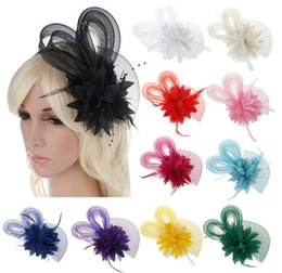 Wholesale Mini Hats Feathers - 10pcs MEW Fashion Fascinators Mini Top Hat Hair lace feathers Wedding Party Hair Accessories 11color optional